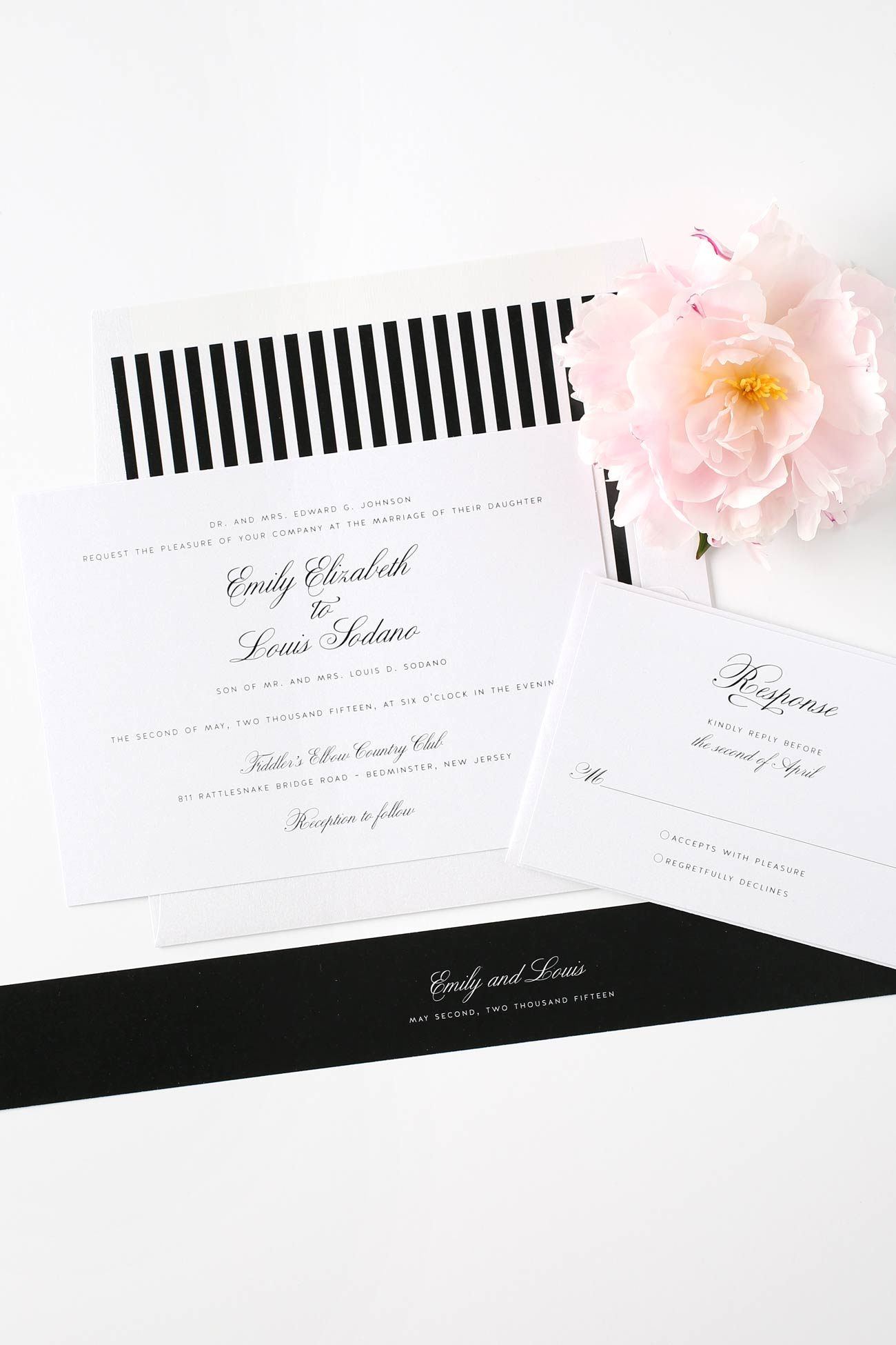 Elegant Black And White Wedding Invites Vintage Invitations