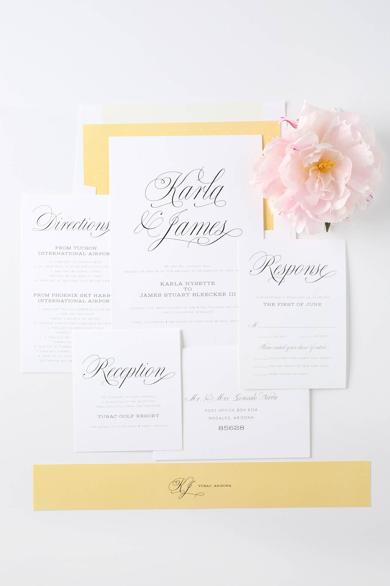 Yellow romantic wedding invitations