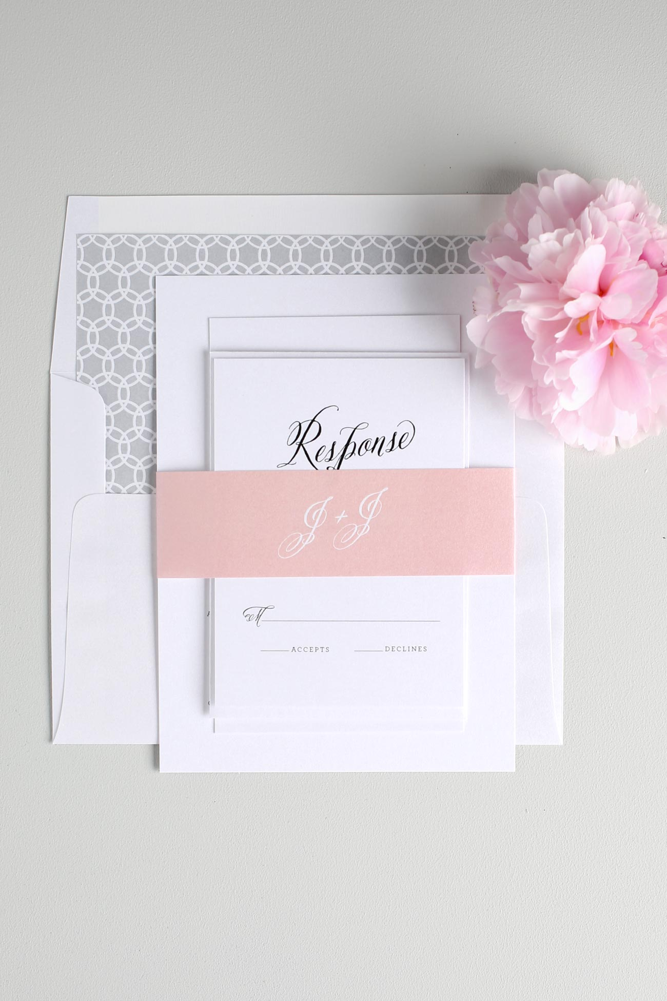 Blush and gray rustic wedding invitations
