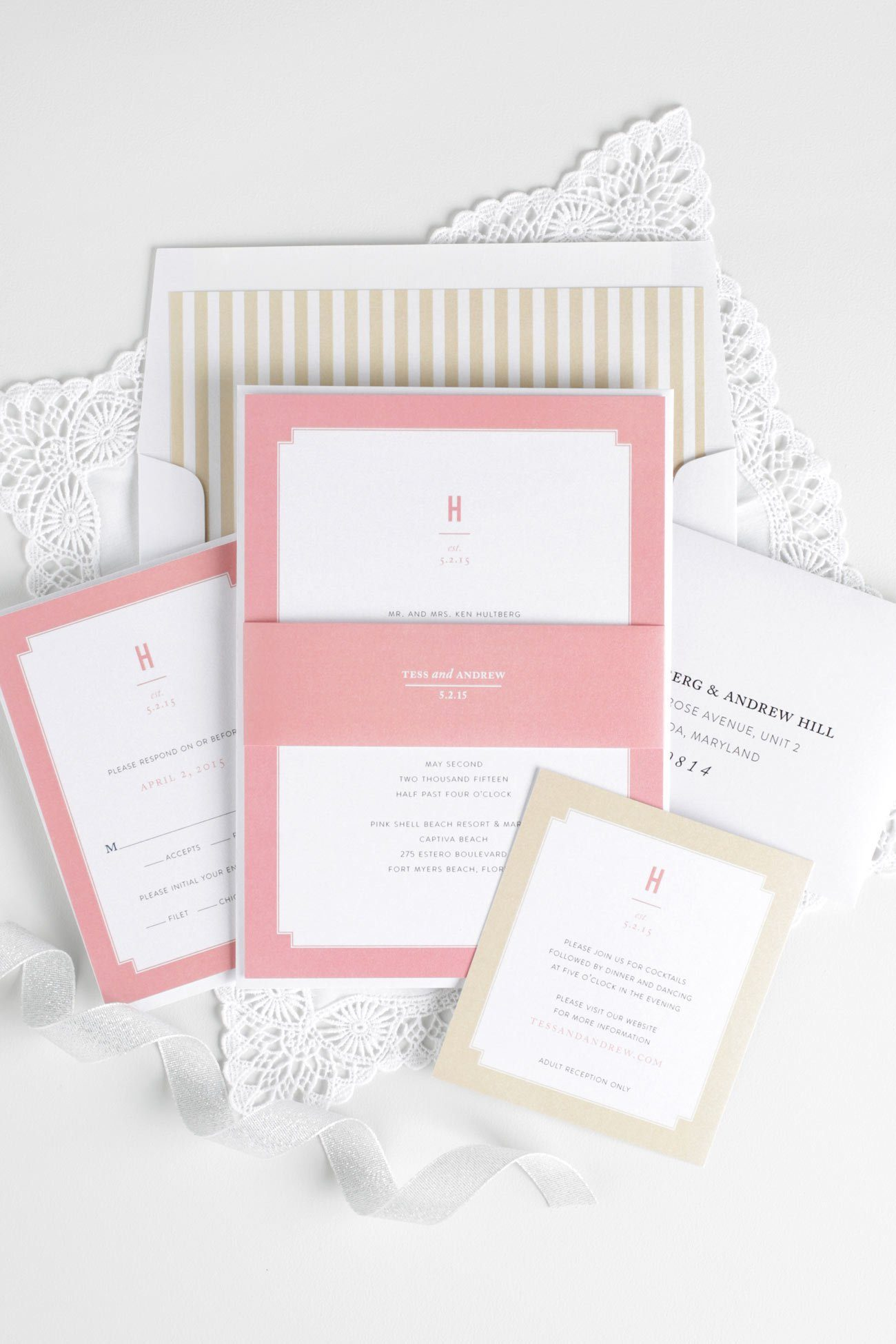 Coral and Gold wedding invitations with a striped envelope liner