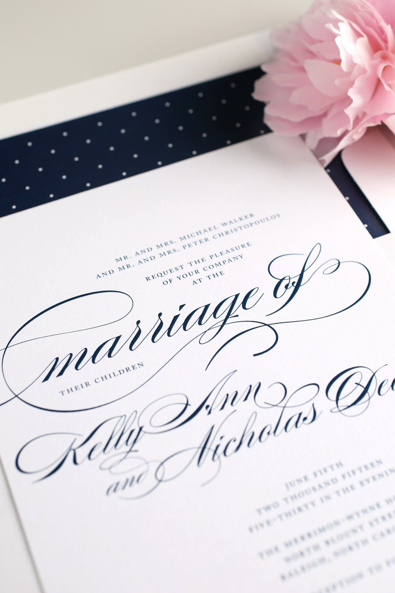 Elegant Script Wedding Invitations in navy