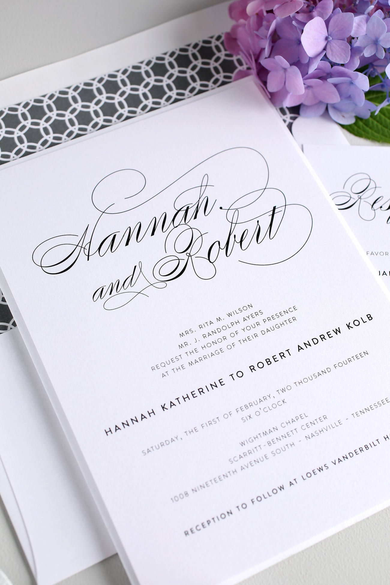 Elegant Wedding Invitations In Gray Wedding Invitations