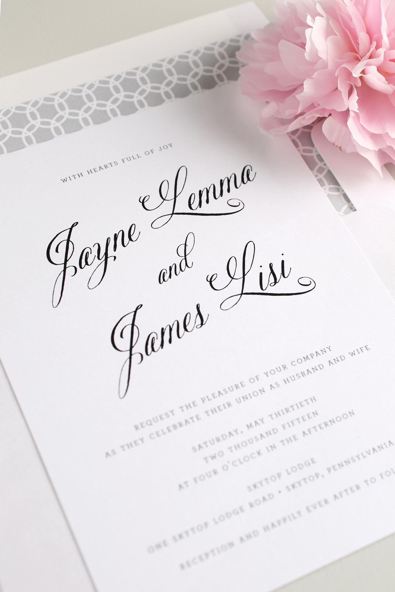 Gray Wedding Invitations with circle pattern