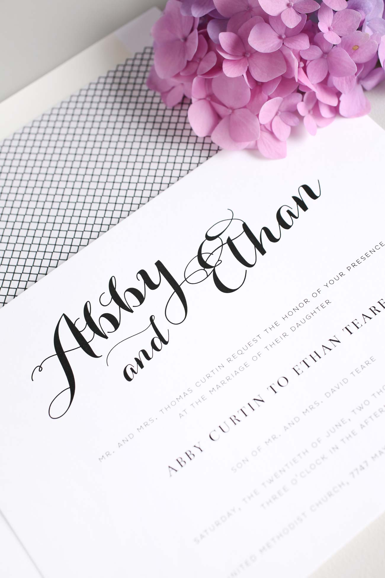 Romantic and Simple Wedding Invitations in Purple – Wedding Invitations