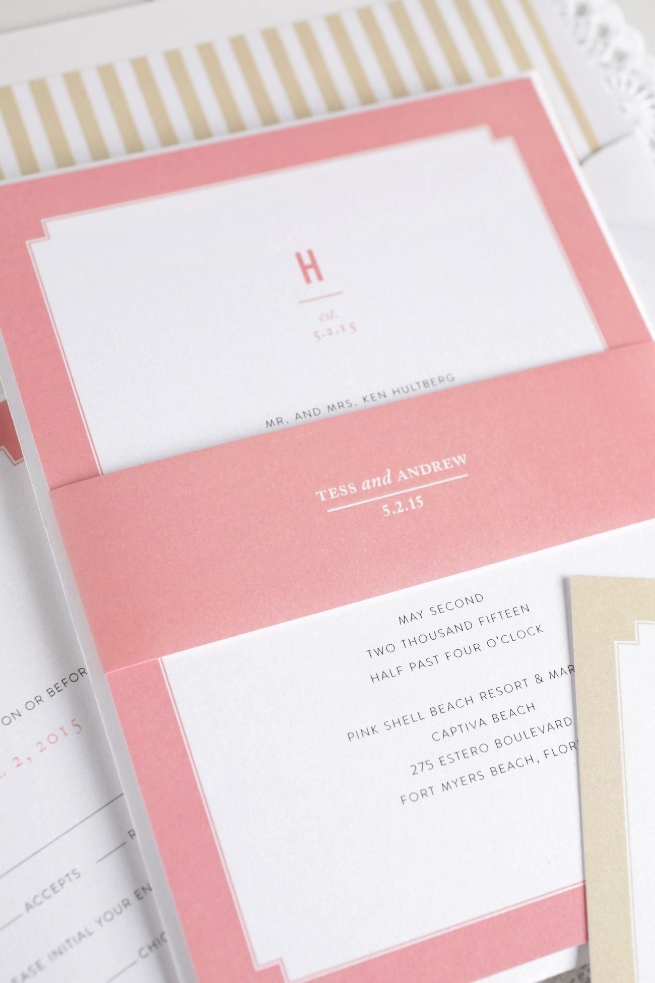 Pink and Gold Wedding Invitations with borders