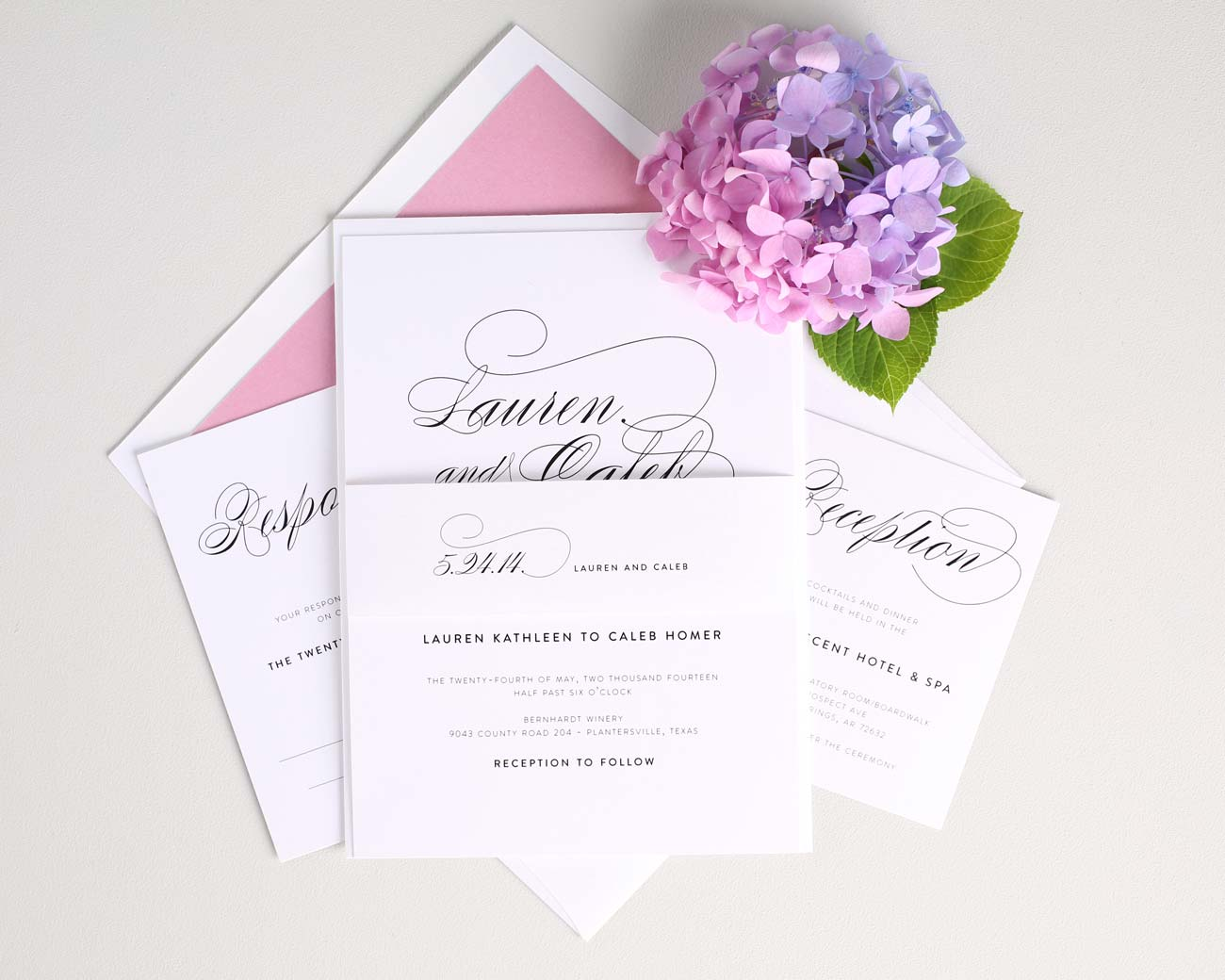 Pink Wedding Invitations with pretty script