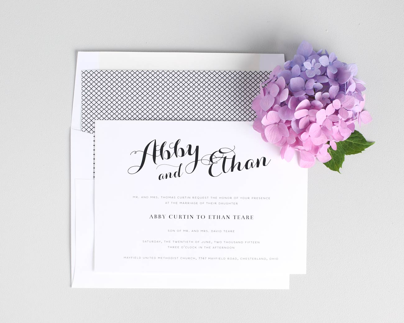 Purple Wedding Invitations With A Crosshatch Envelope Liner
