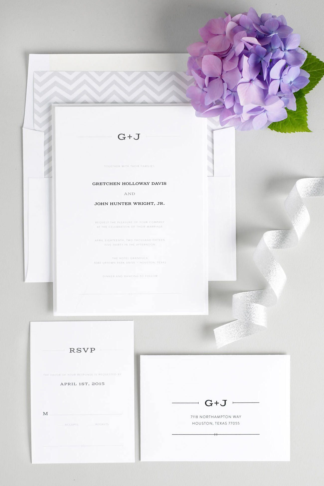 Rustic wedding invitations with a simple monogram