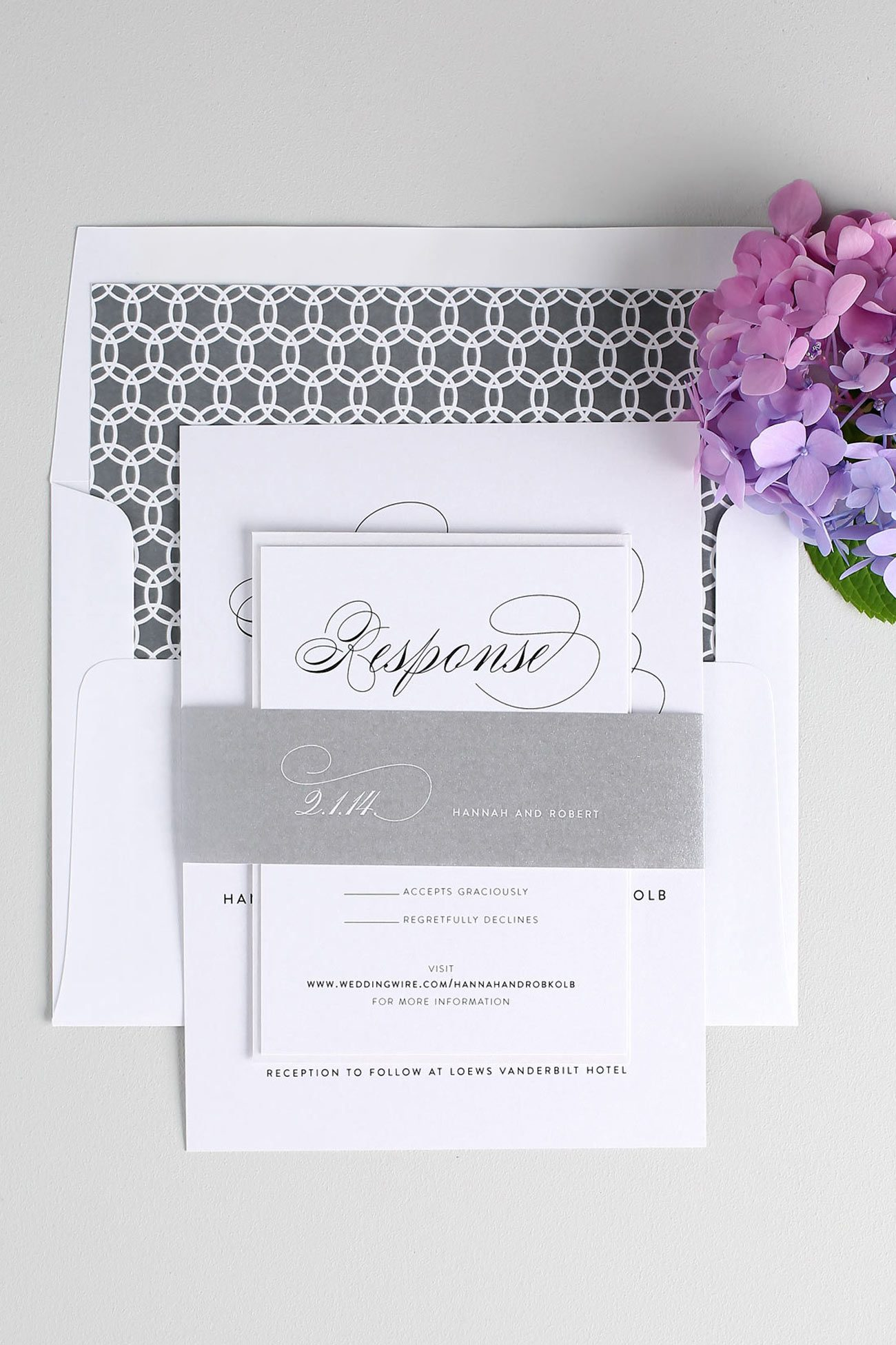 Script elegant wedding invitations with a circle liner