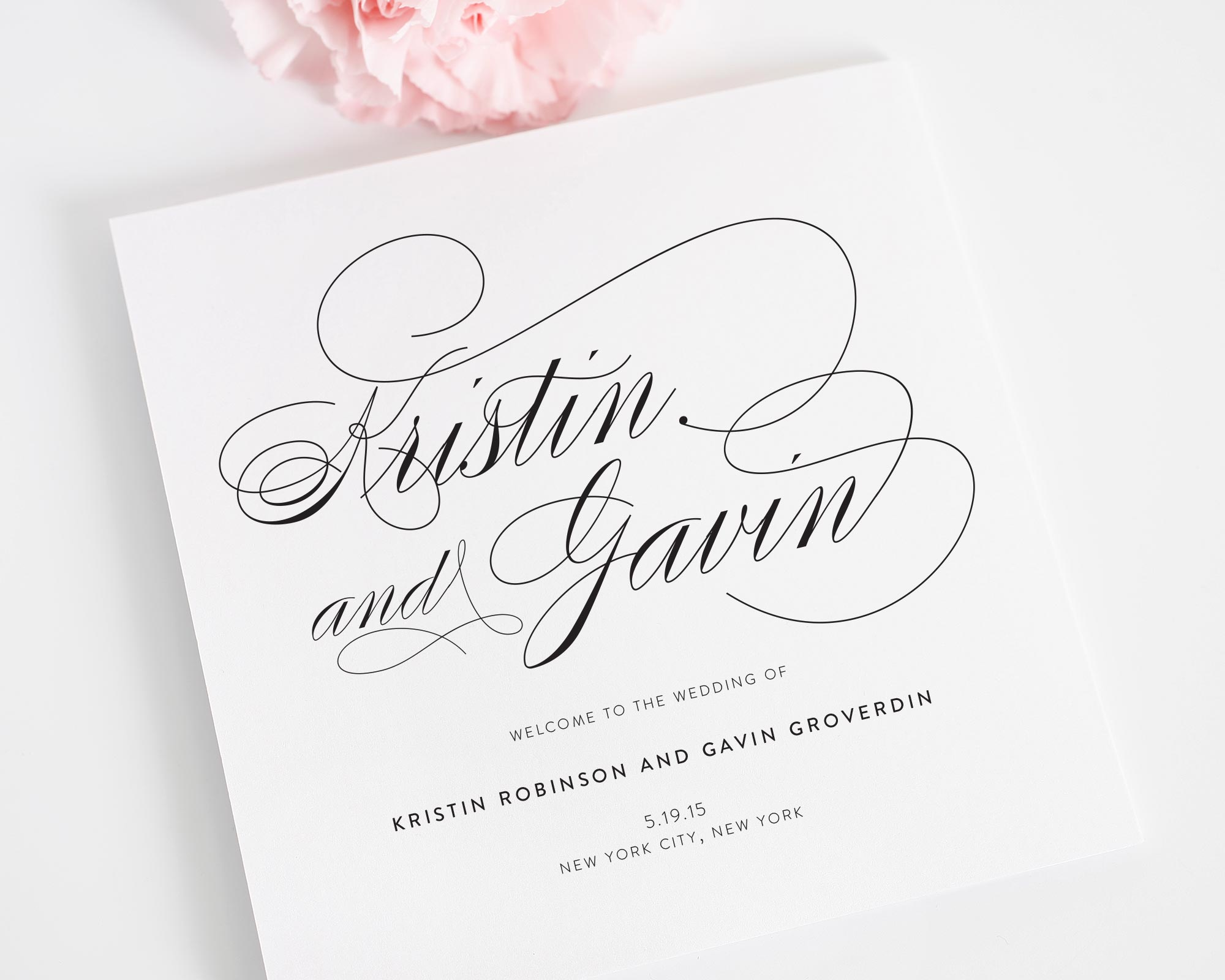 Script Elegance Wedding Program
