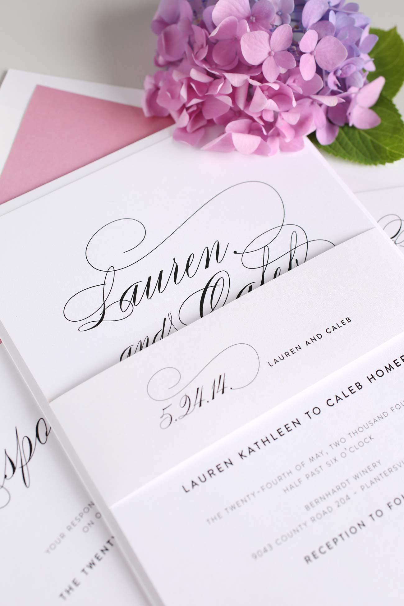Script rose pink wedding invitation