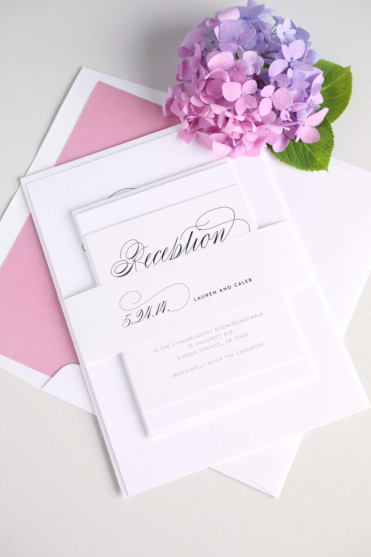 Script Wedding Invitations in rose pink