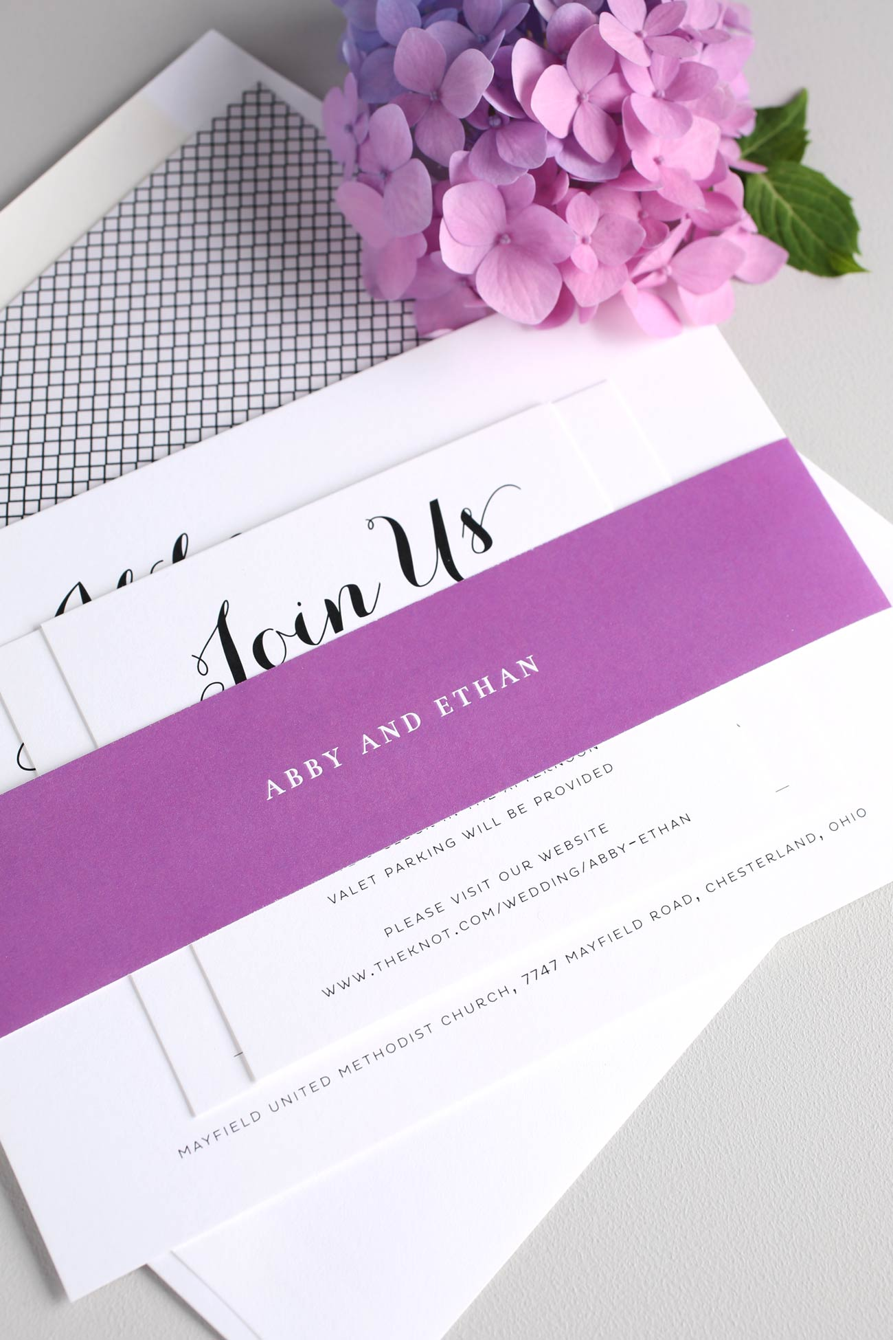 Romantic and Simple Wedding Invitations in Purple – Wedding ...