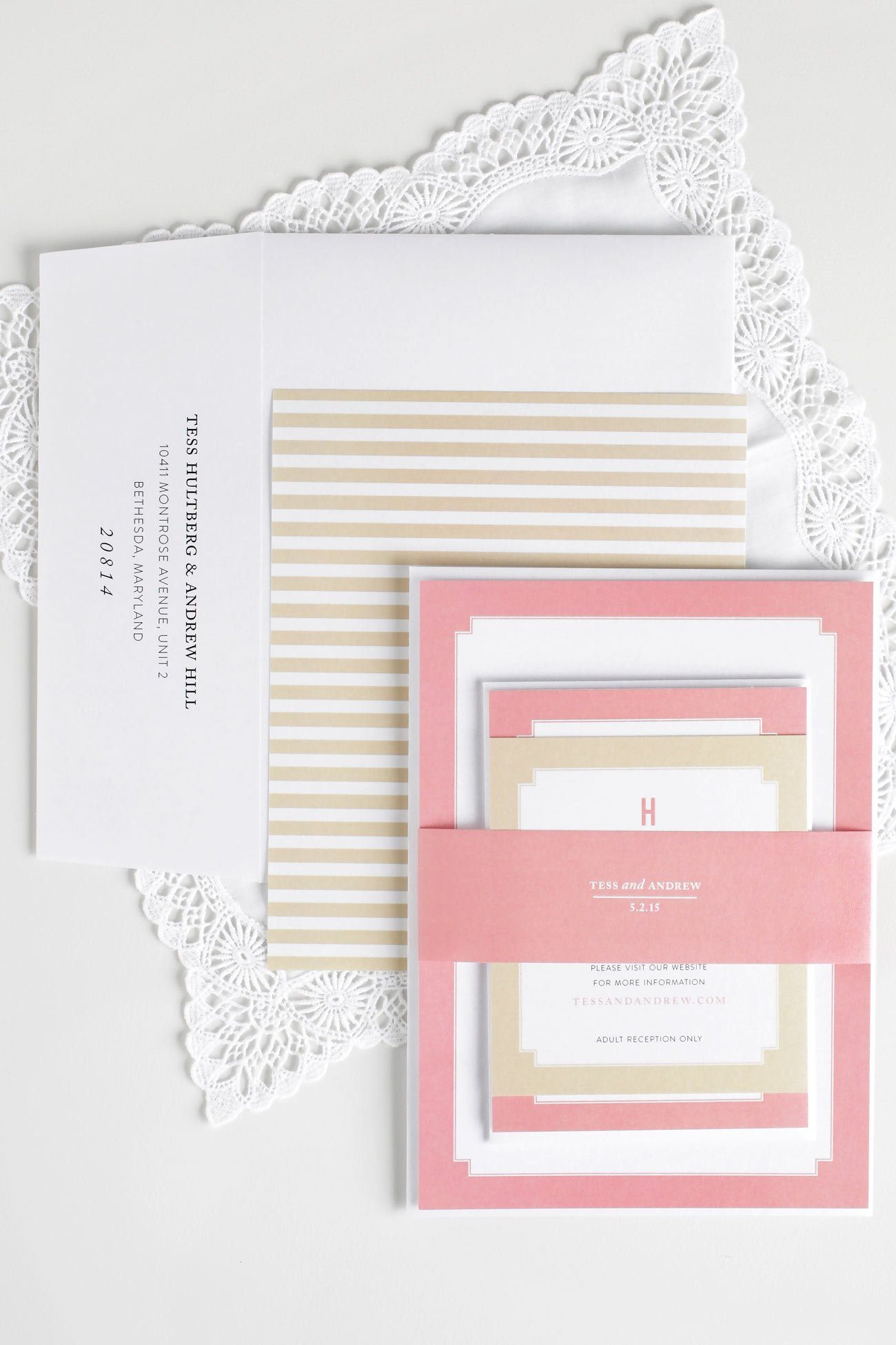 Striped Coral Pink and Gold Wedding Invites