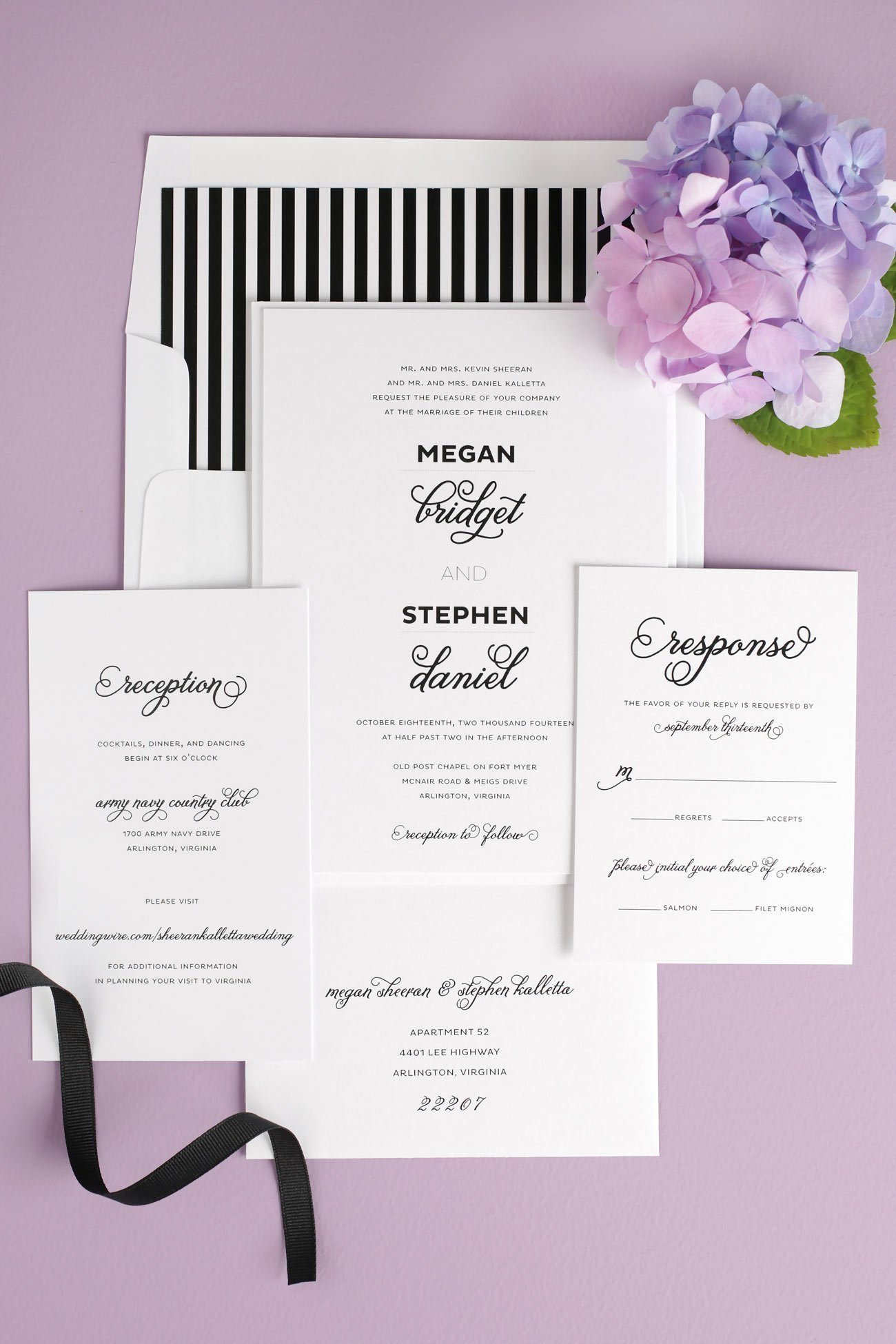 Whimsical wedding invitations in black and white