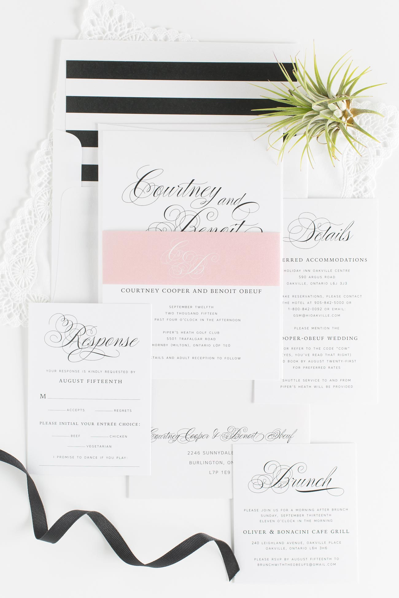 Black and Blush Wedding Invitations