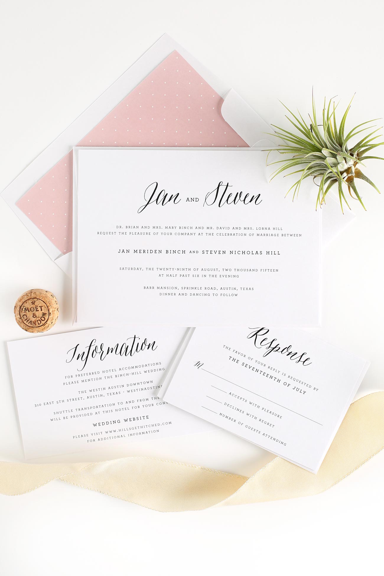 Rustic and Romantic wedding invites in blush pink