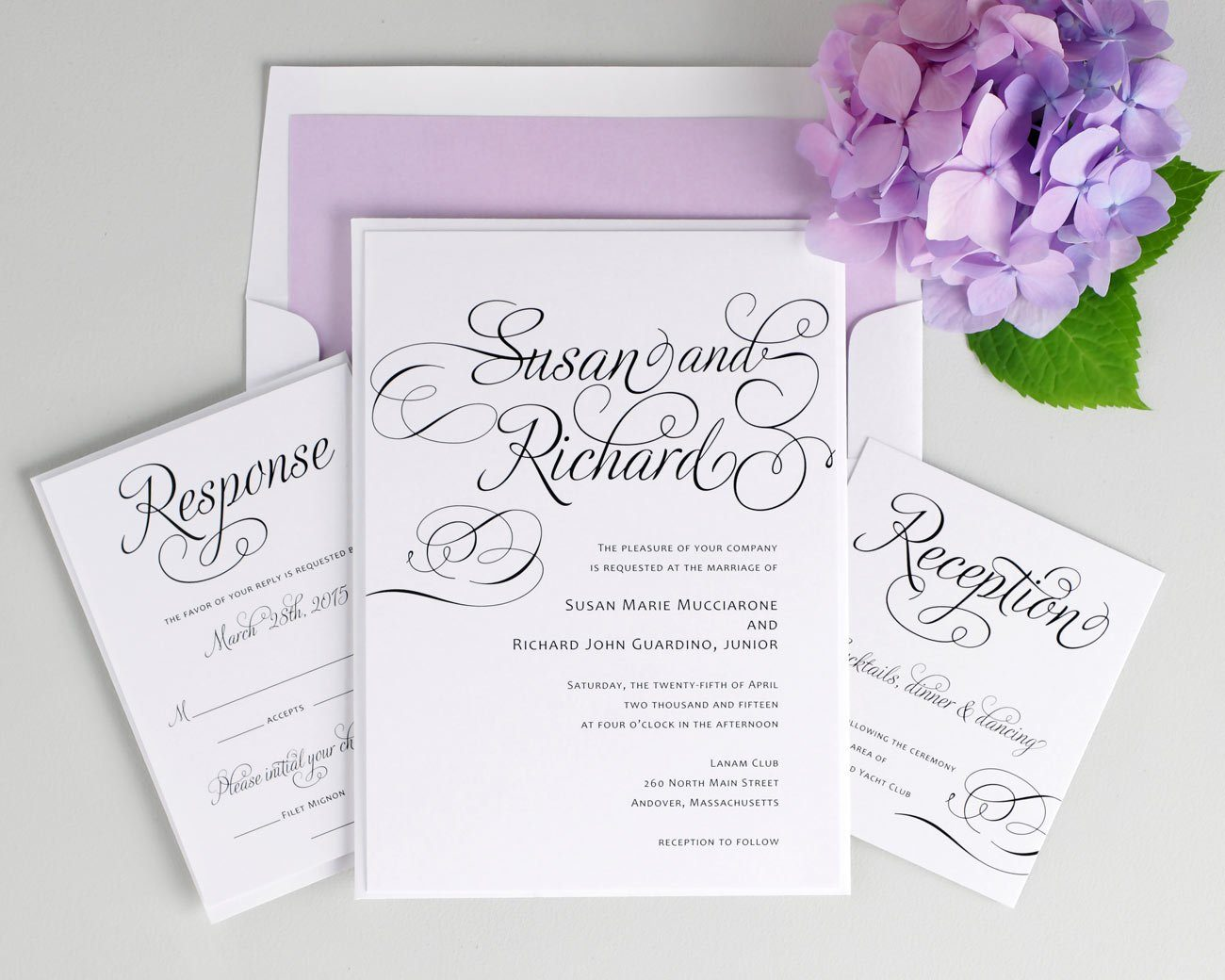 Purple Calligraphy Wedding Invitations