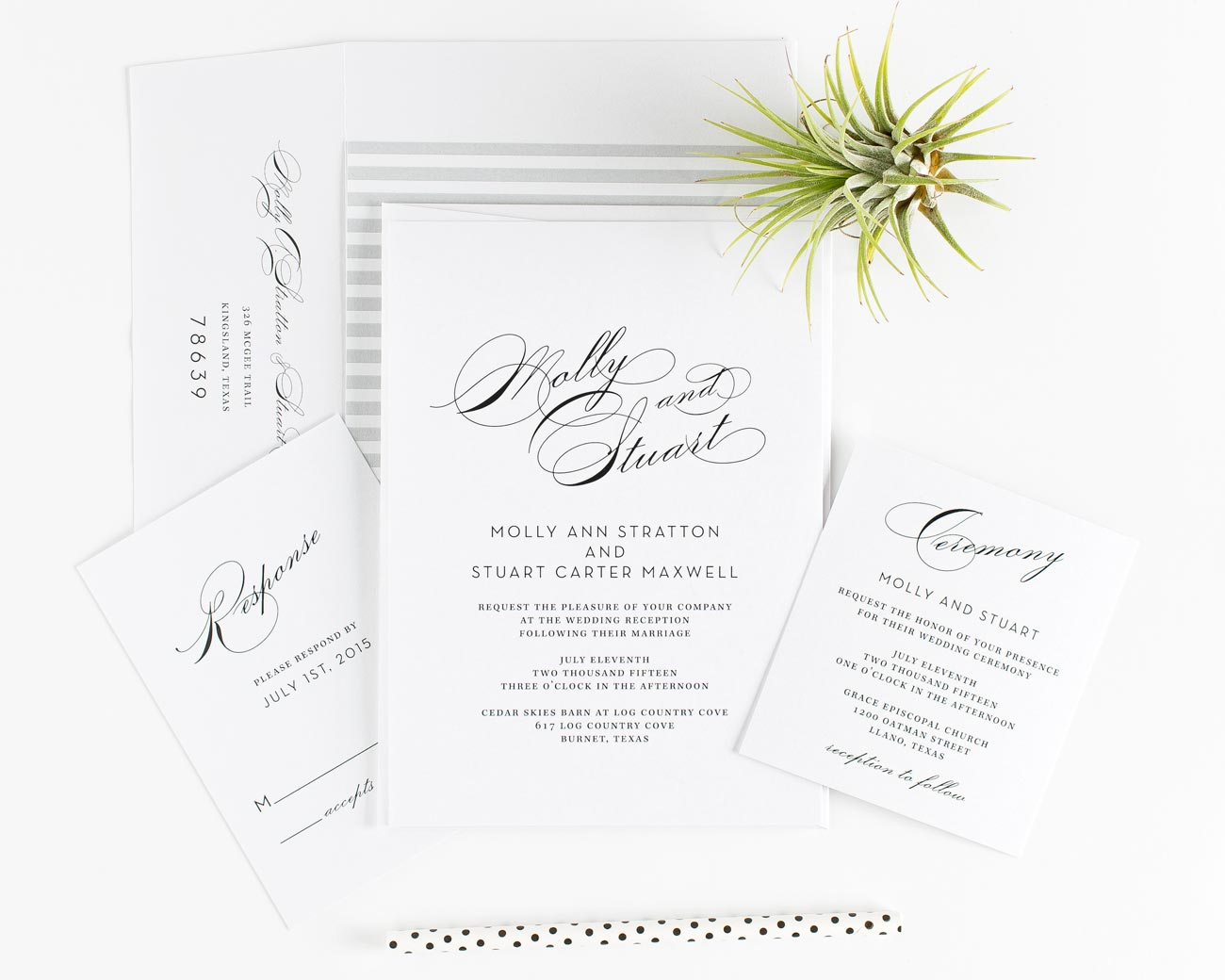 Gray Glam wedding invitations