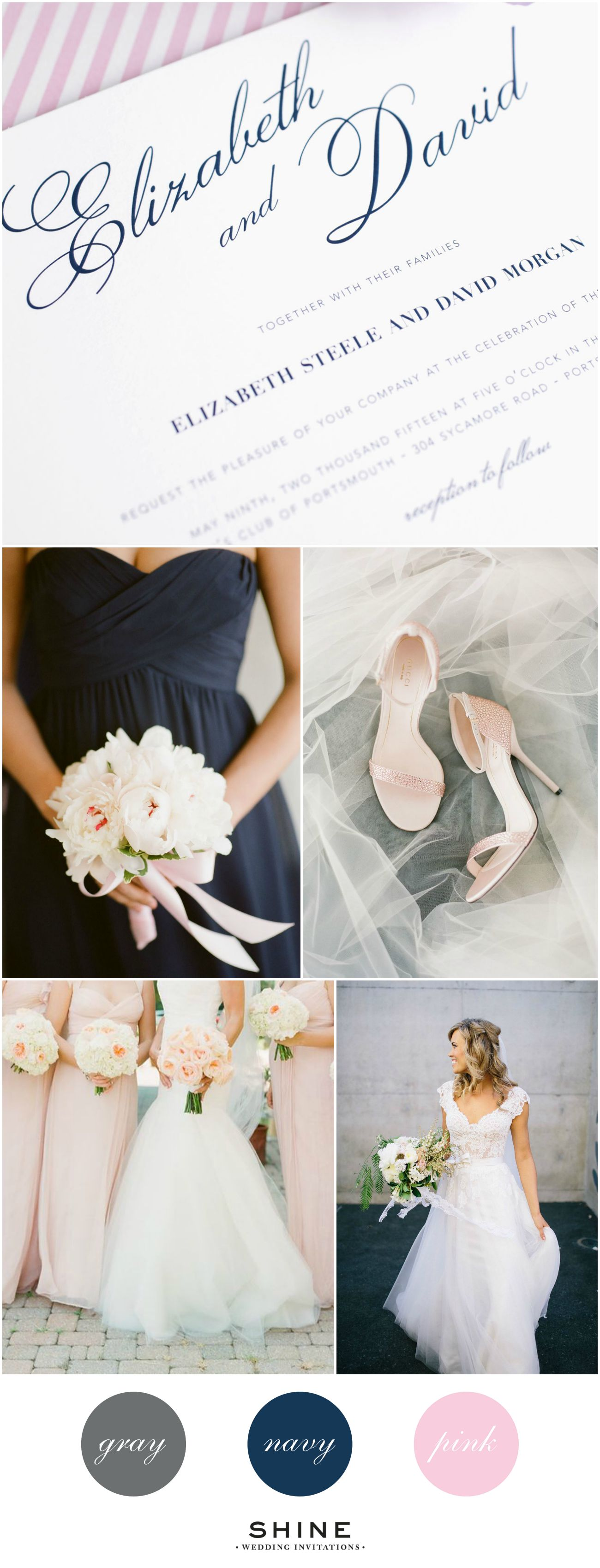 Gray, Navy, and Pink Vintage Wedding Inspiration