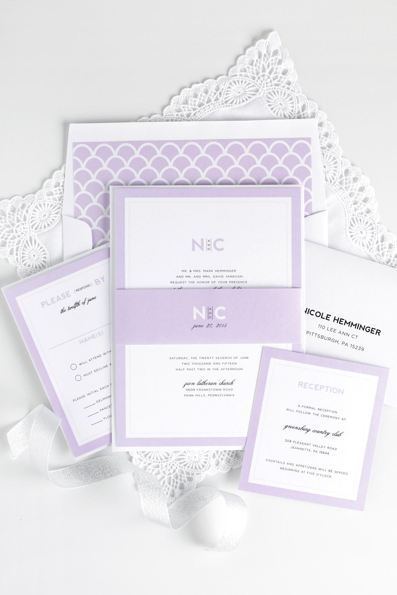 Lilac wedding invitations with a simple modern monogram