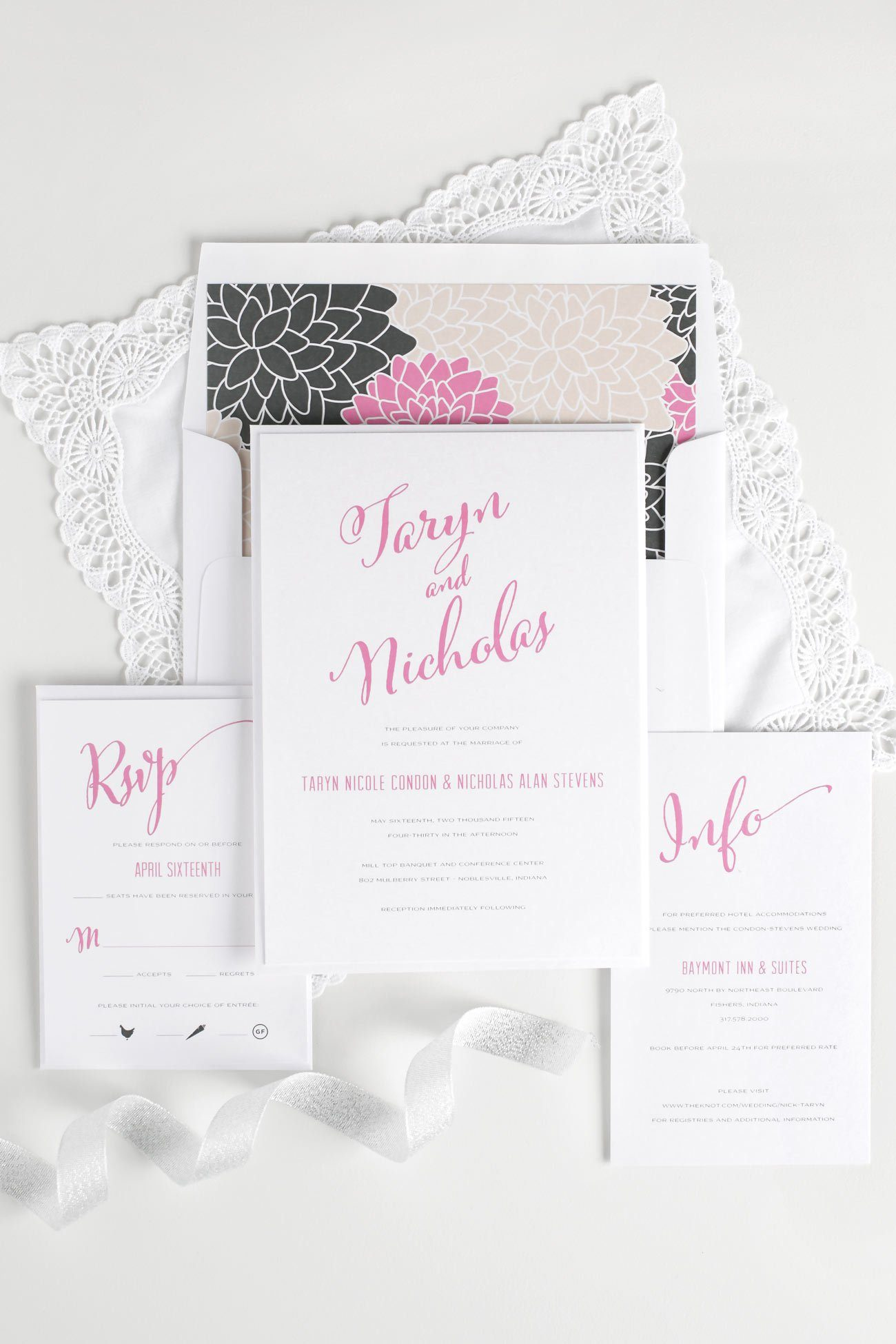 Modern Script wedding invitations in pink and gray