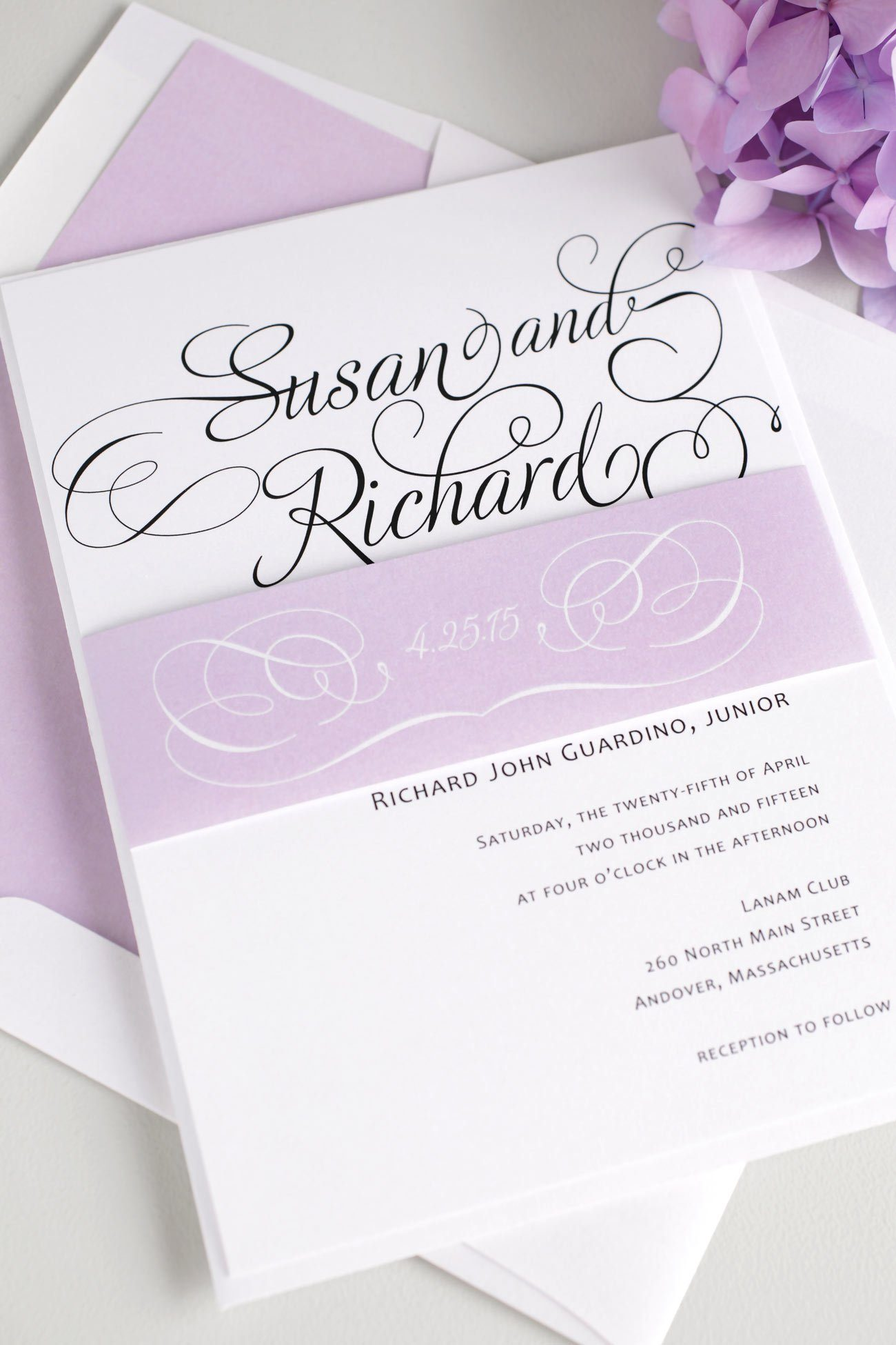 Lilac script wedding invitations