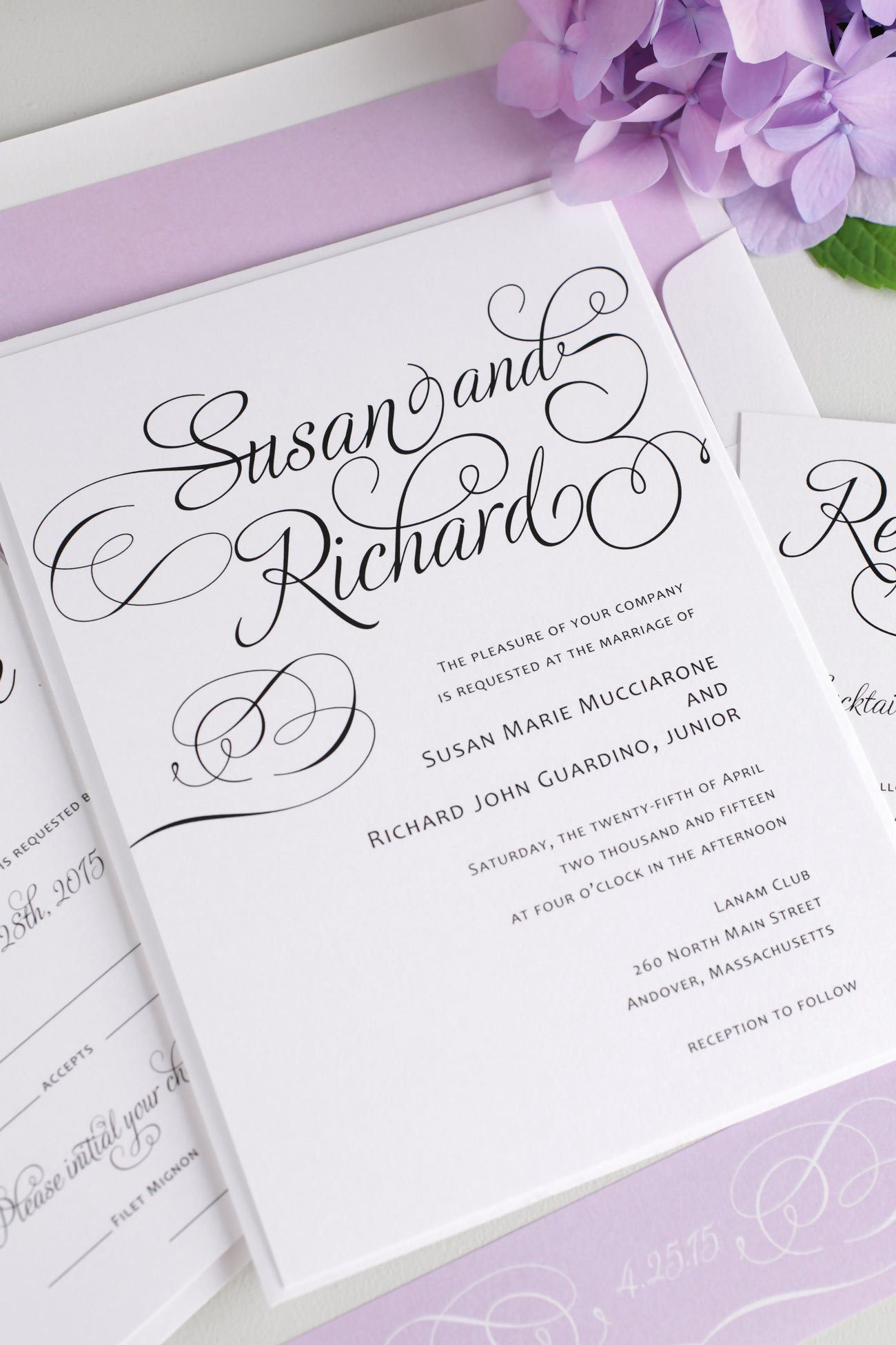 Purple Script wedding invitations with swashes and swirls