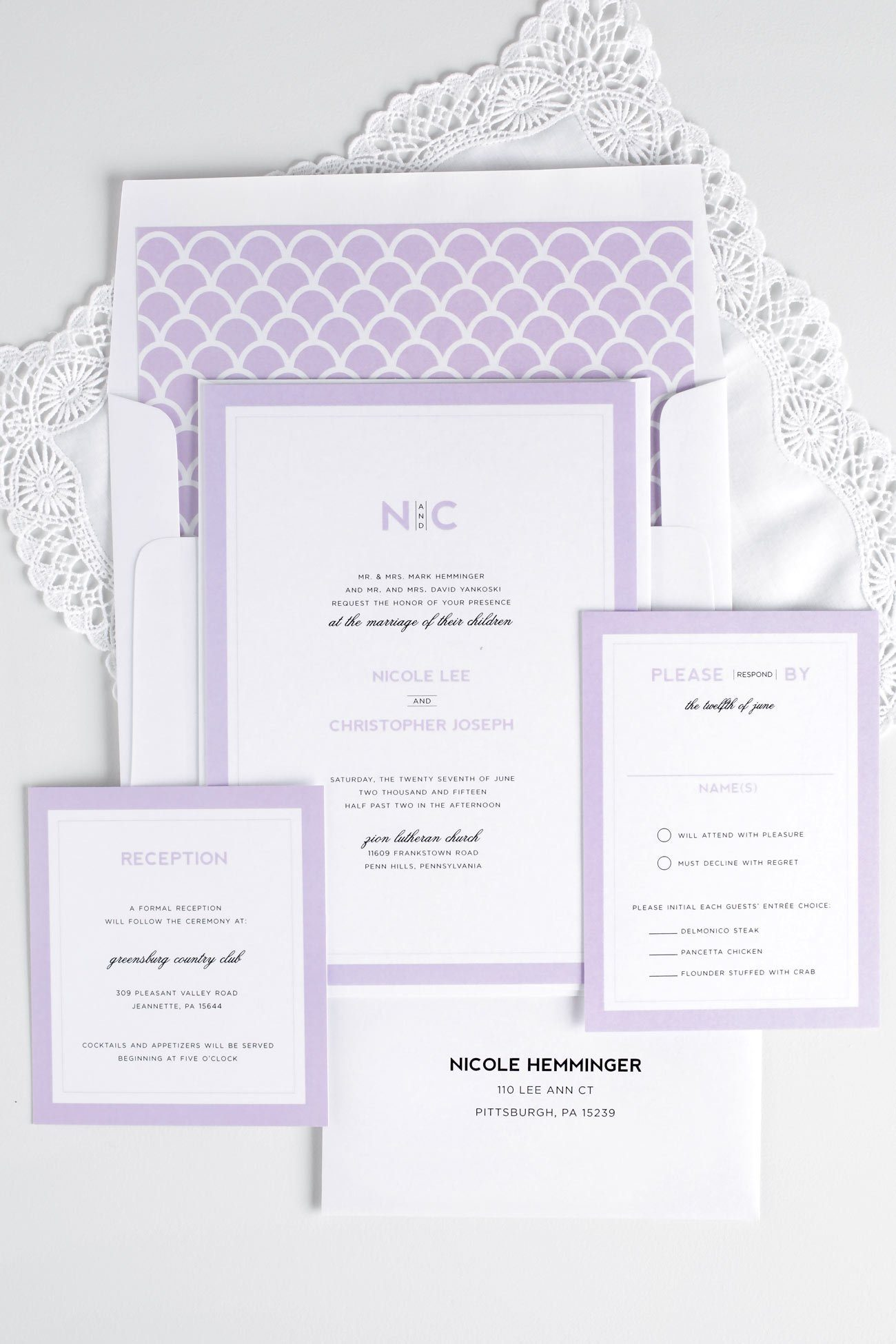 Modern Purple Wedding Invitations with a scallop envelope liner