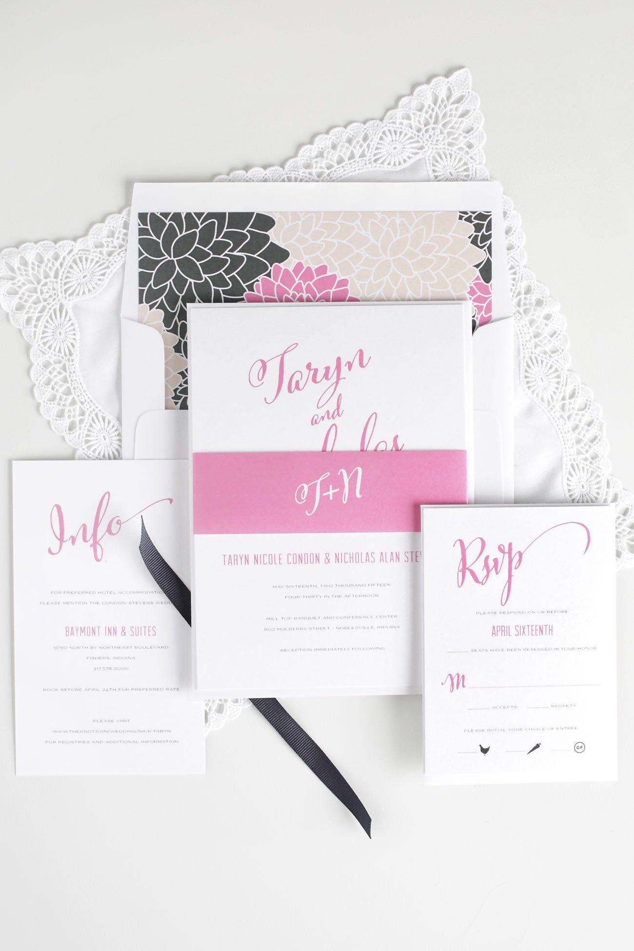 Rose Pink Wedding invitations with a floral envelope liner
