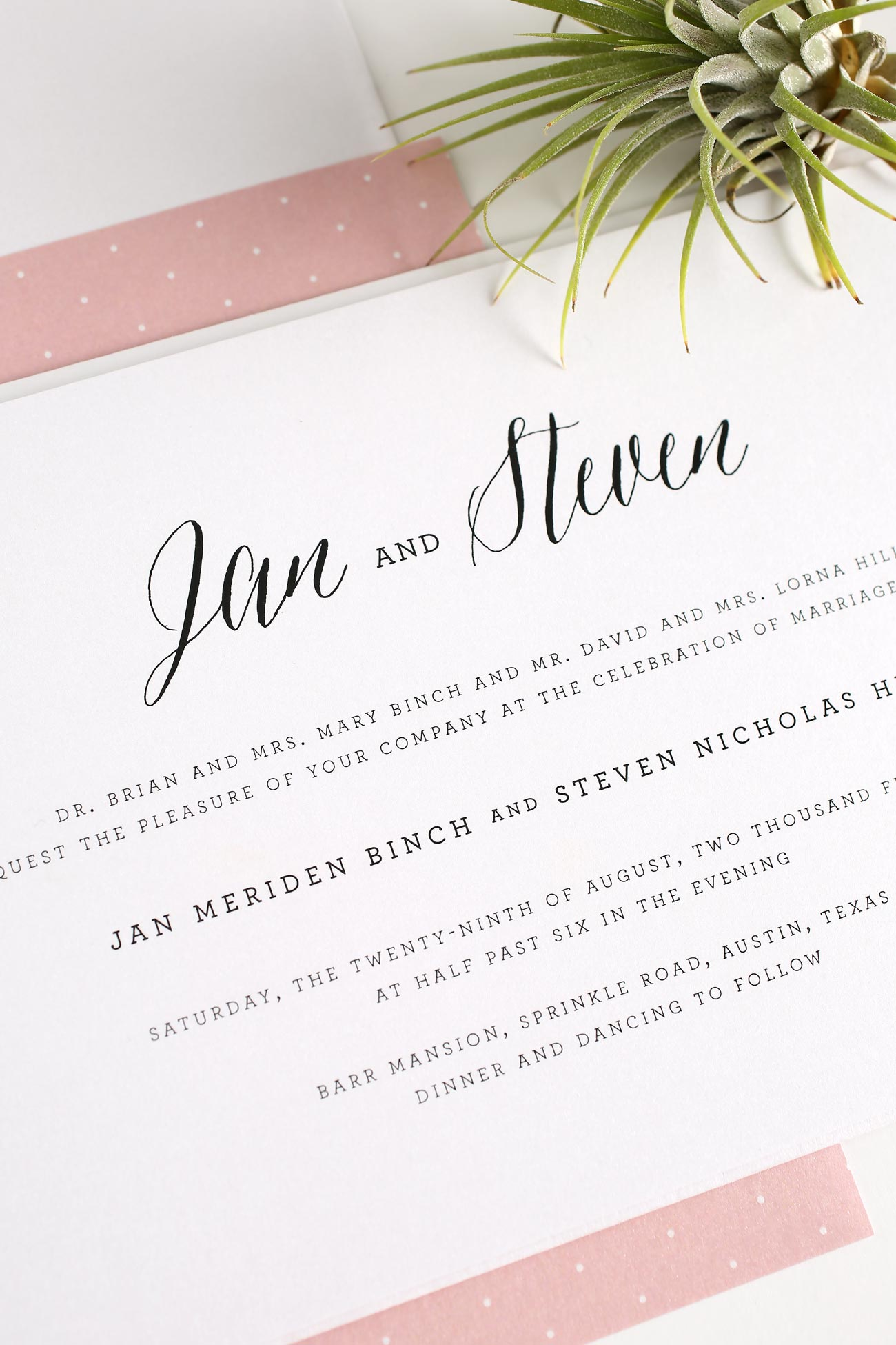 Rustic wedding invitations with blush polka dots
