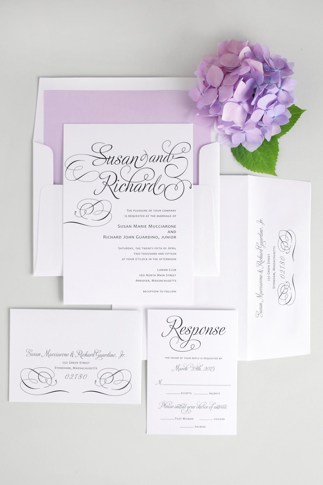 Script wedding invitations with purple accents