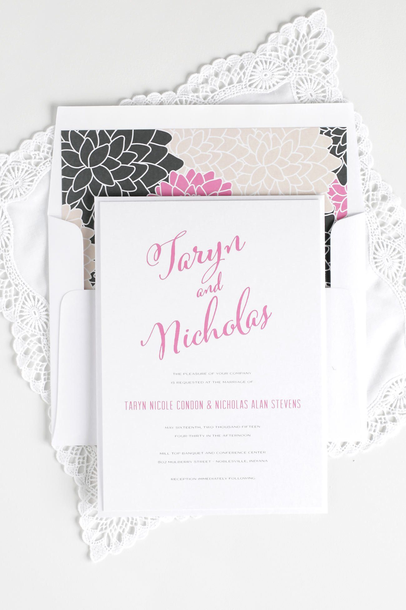 Calligraphy wedding invitations in pink and gray