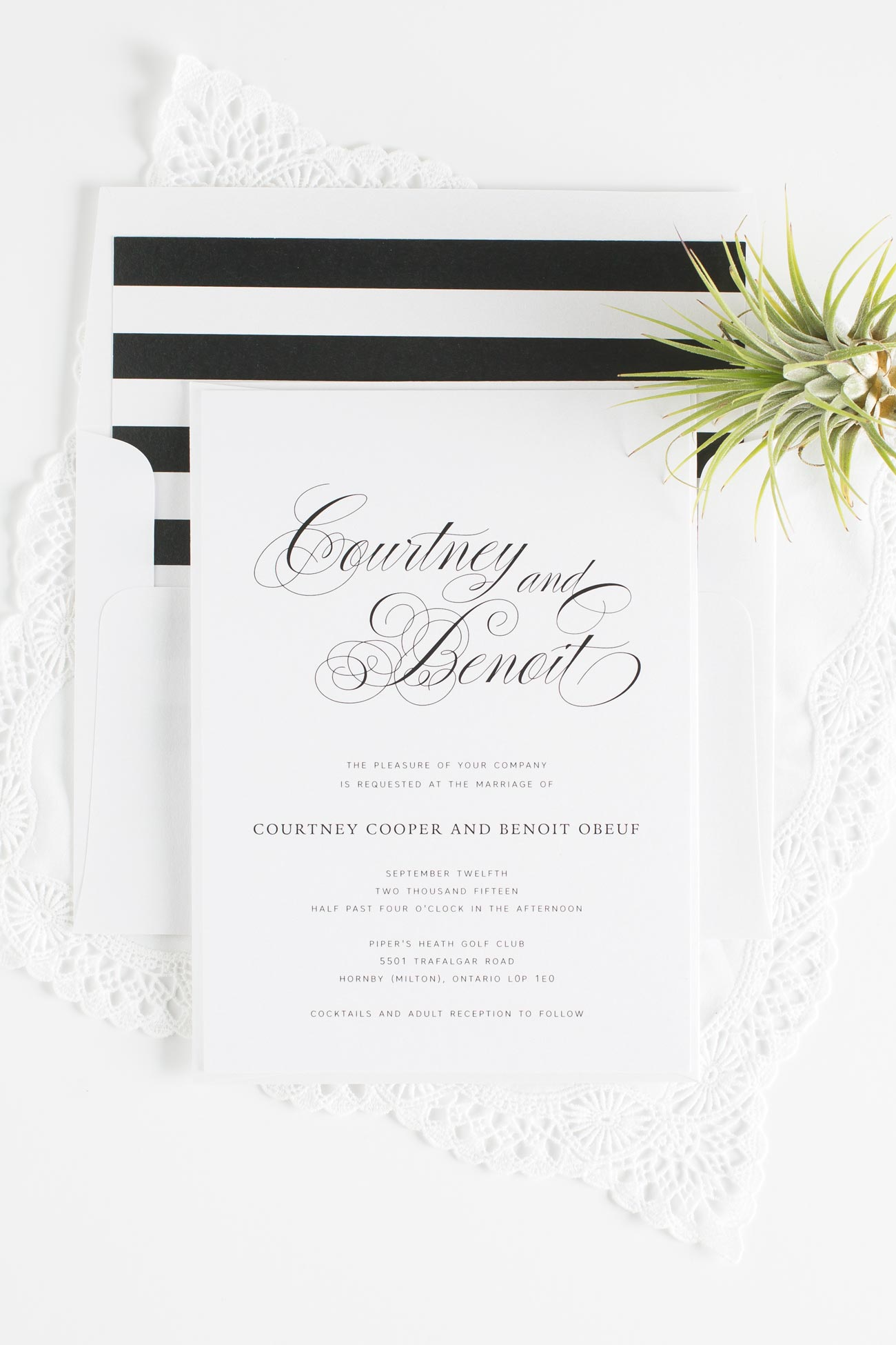 Script Wedding Invitations in Black and White