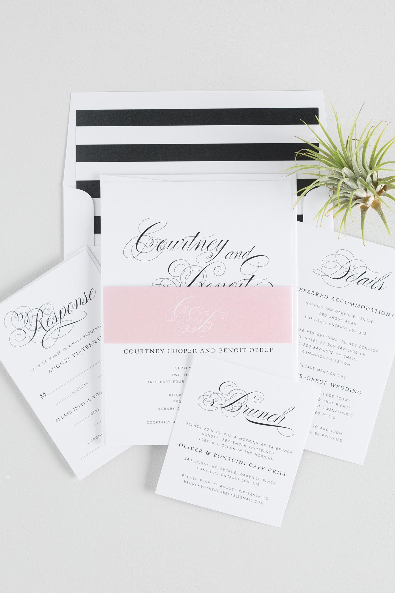 Black and White Striped Calligraphy Wedding Invitations with blush accents