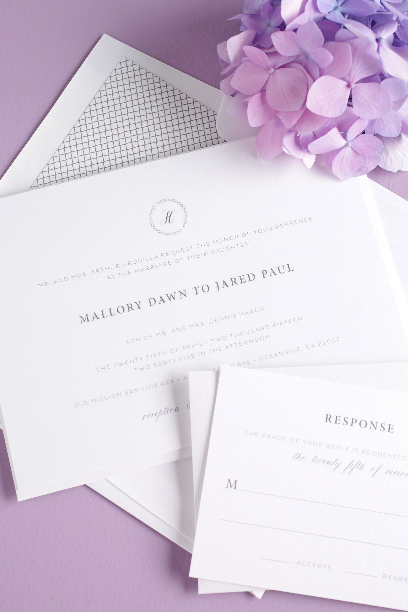 Vintage and Elegant Gray wedding invitations with purple accents