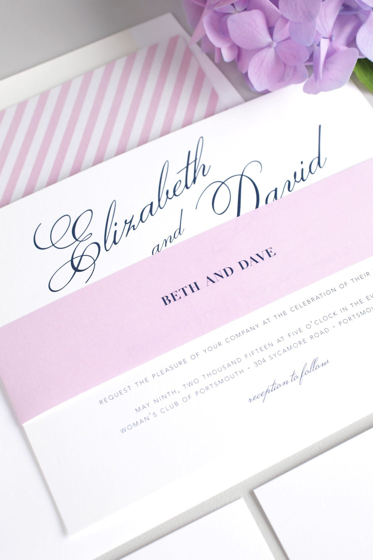 Vintage and romantic wedding invites with a striped envelope liner
