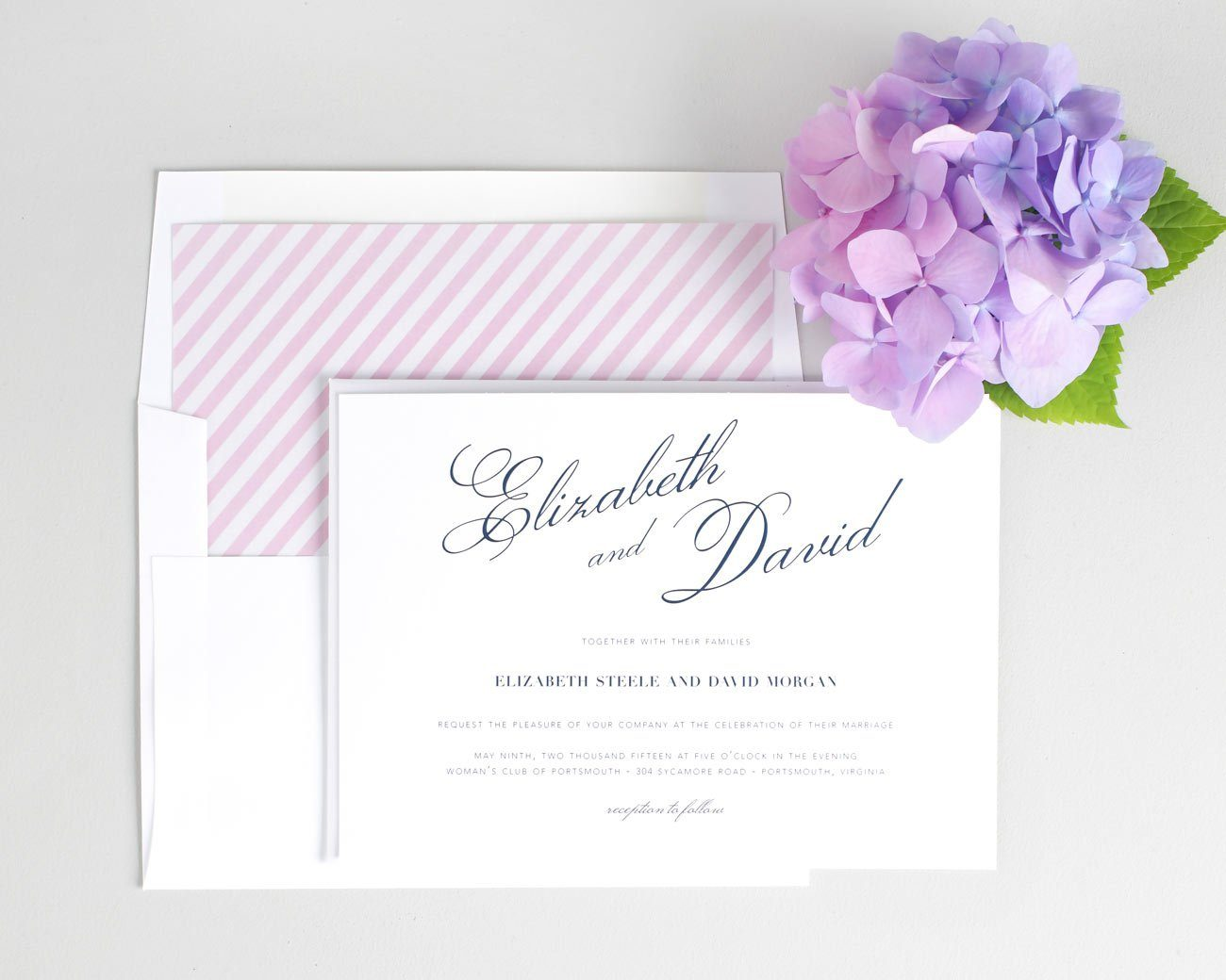 Vintage wedding invitations in pink and navy blue