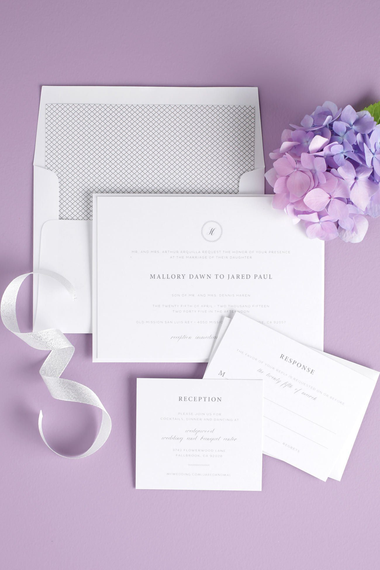 Elegant Purple and Gray Wedding Invitations – Wedding Invitations