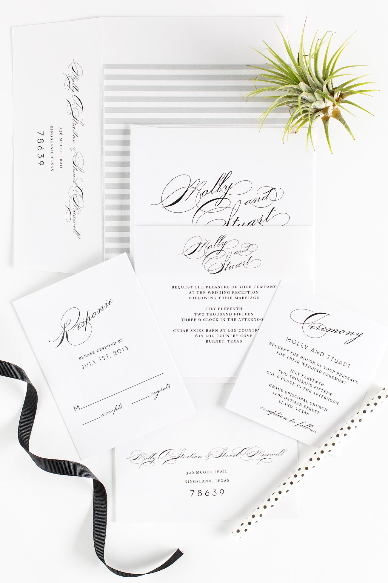 Vintage wedding invitations in gray
