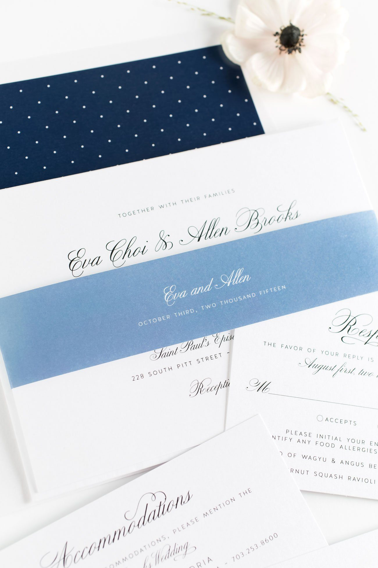1940s Wedding Invitations in Navy and Dusty Blue