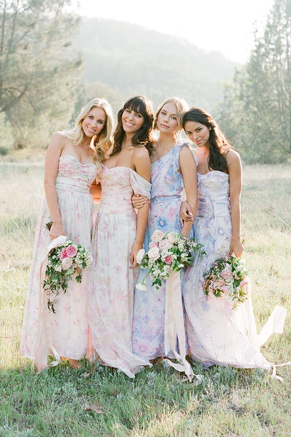 Pretty Plum Sugar Floral Bridesmaids Dresses