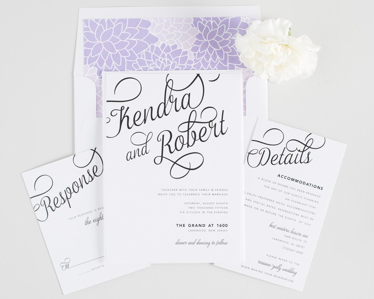 Amethyst Wedding Invitations with large calligraphy names