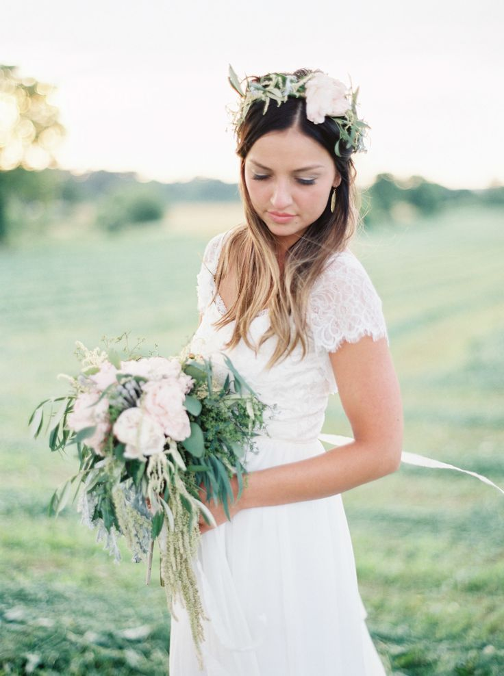 Lace Wedding Dress with Wildflower Bouquet and Flower Crown