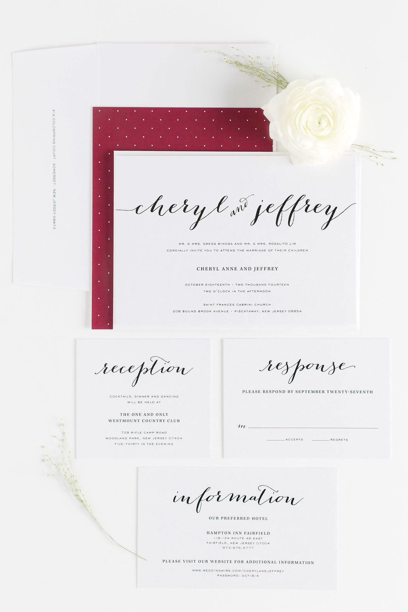 Deep Red Wedding Invitations