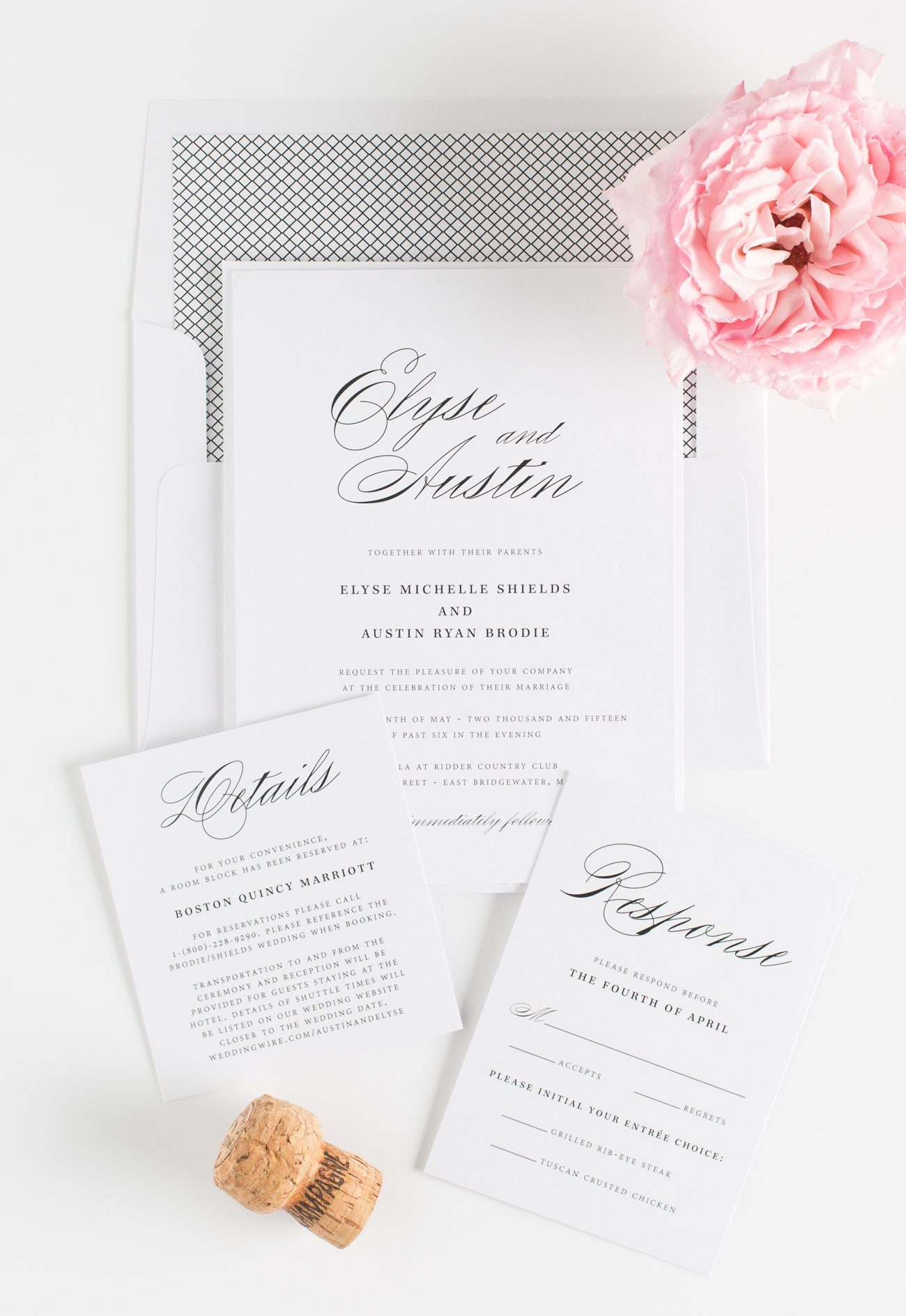 Calligraphy Wedding Invitations with a Crosshatch envelope liner