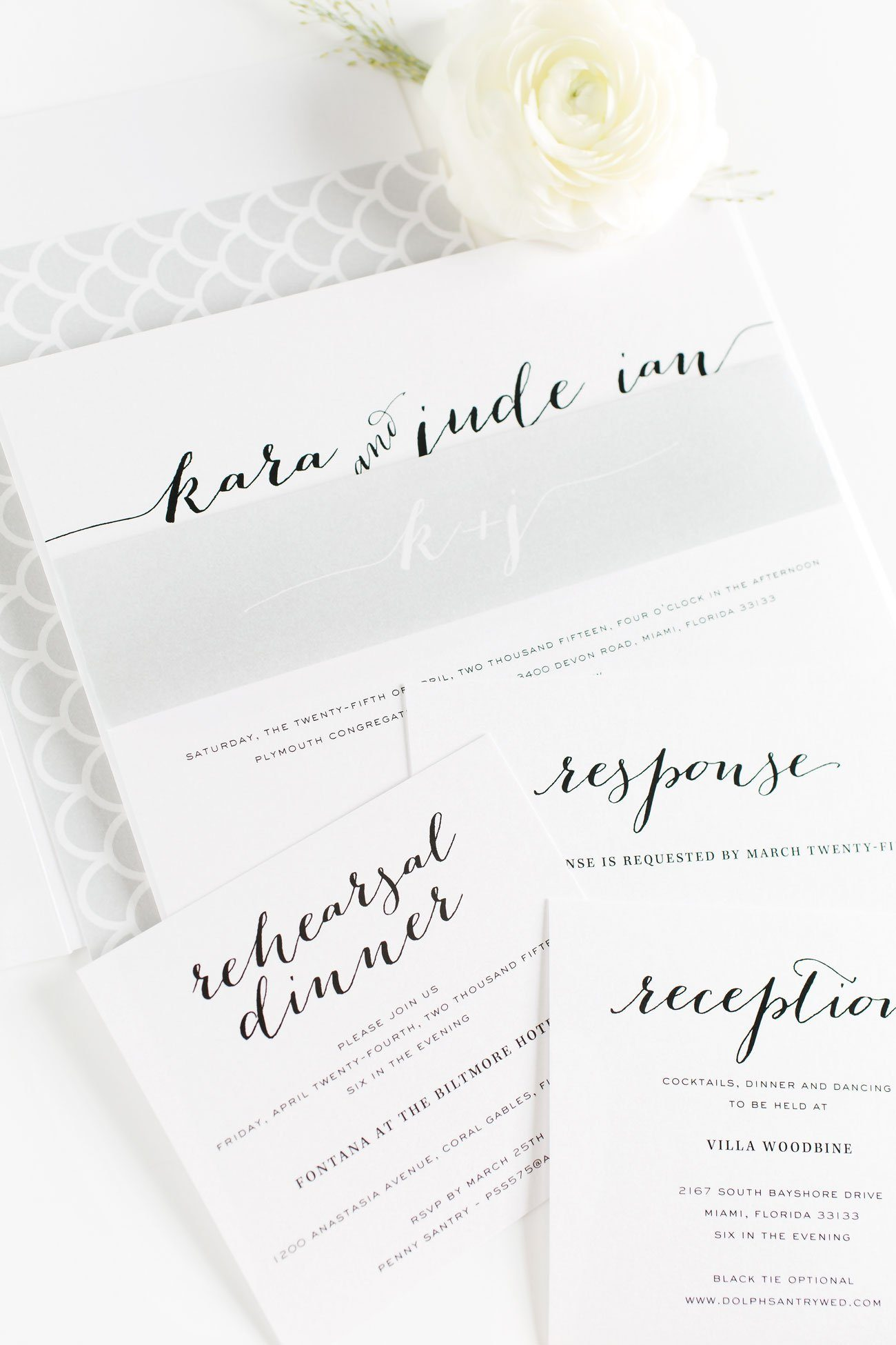 Flowing Script Wedding Invitations in Silver Gray