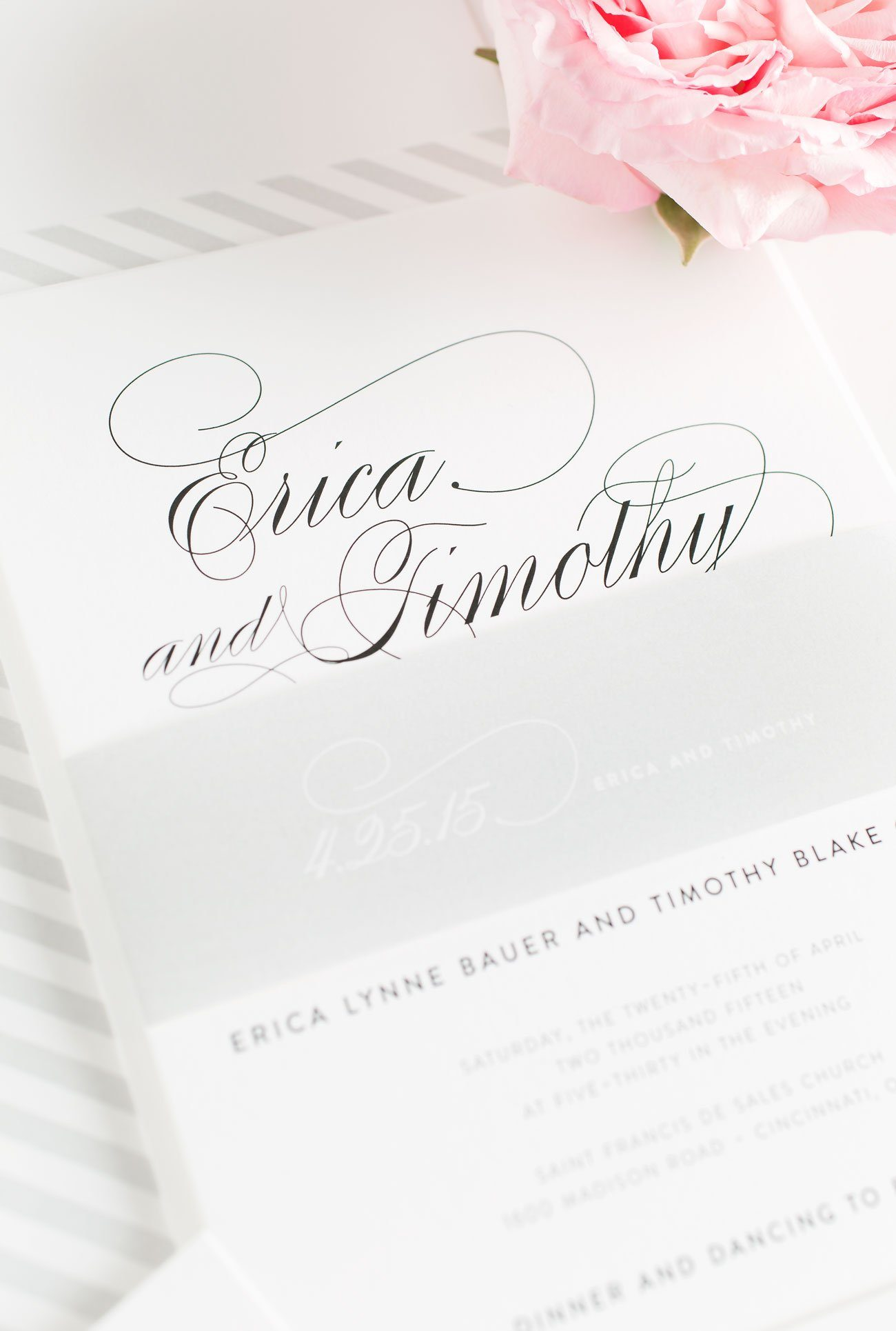 Calligraphy Wedding Invitations with Gray Accents