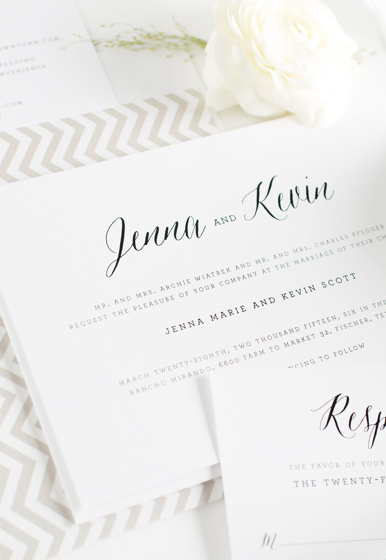 Romantic Wedding Invitations in Taupe with a chevron envelope liner