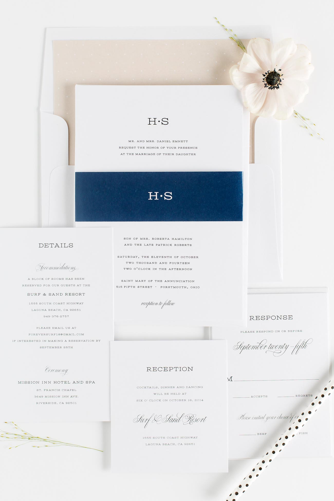 Champagne Wedding Invitations with navy accents
